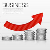 Concept Success in Business with Coins and Graph, template for design, vector illustration