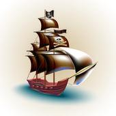 pirátská loď vektorové ilustrace