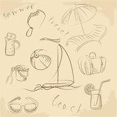 summer lounge doodles, vector illustration