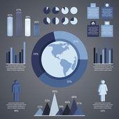 graue infografische Elemente und Informationsgrafik. Vektorillustration