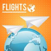 vektorové země a dvěma papír letadla na oranžovém pozadí