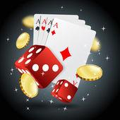 Vektor Illustration Poker Glücksspiel Chips Poster. Poker-Sammlung mit Chips, Würfeln, Karten