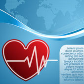 Heart with cardiogram on blue background