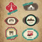 ročníku cestovní ikonami. cestovní sada nálepek.