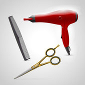 Vector barber shop icons. Scissors, comb and hair dryer
