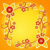 Floral frame on orange background, element for design, vector illustration