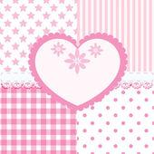 vektorové sada srdce a 4 vzorky bezešvé pozadí světle růžový