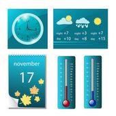 Készlet-ból időjárás ikonok, óra, naptár