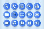 ikony pro mobilní telefon s modrým pozadím