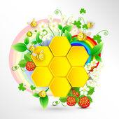 včely a voštiny květinové pozadí s duhou