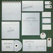 sada papírové obálky, Poznámkový blok a vizitky s nápisem kotvu. vektorové ilustrace
