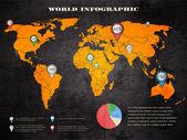 Set von Infographischen Elementen. Weltkarte und Informationsgrafik