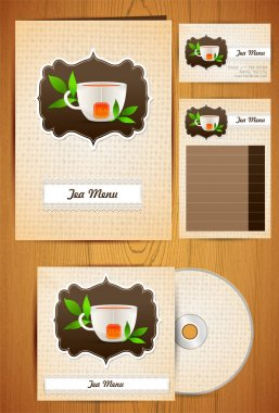 Tea menu, disc, card - Corporate Identity on wood background stock vector