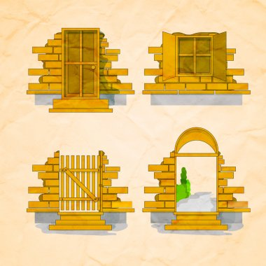 Illustration of a door and windows in and out version with bricks stock vector