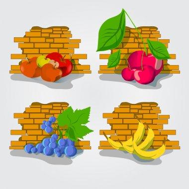 Various Fruits border - vector illustration on white background stock vector