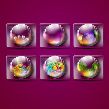 Fauna seen inside the crystal scrying ball. Vector illustration . on violet background. stock vector