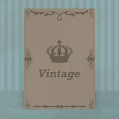 Vintage crown on brown blue background stock vector