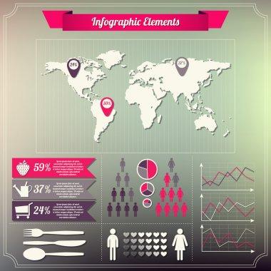 Set of infographics elements Vintage style design stock vector