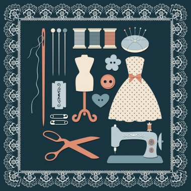 Craft icons - Sewing Icons for sewing, crafts stock vector