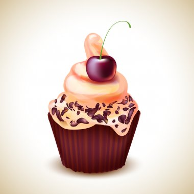 Vector Illustration of cupcake with cherry stock vector