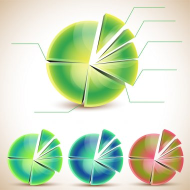 Set of pie graphic chart stock vector