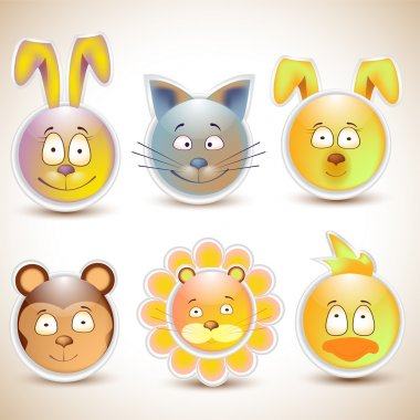 Collection of funny and cute happy animal faces smiling stock vector