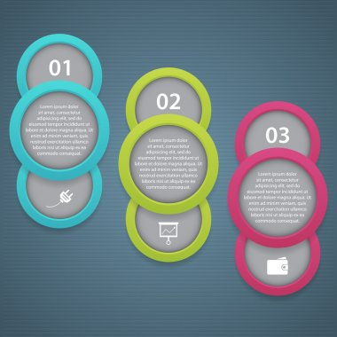 One two three - vector progress icons for 3 steps stock vector