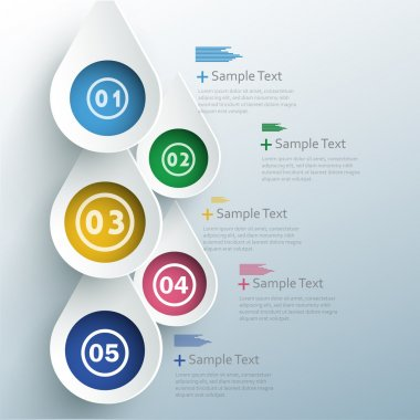 Vector progress options one, two, three, four, five, options with coloured stripe stock vector