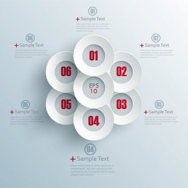 Vector progress options one, two, three, four, five, six options stock vector