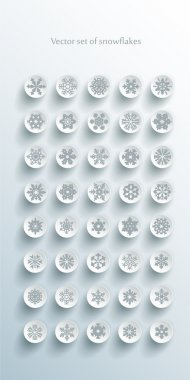 Set of grey snowflakes over white background stock vector