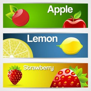 Set of three fruit banners: lemon, strawberry, cherry stock vector
