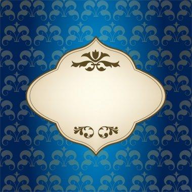 Blue Vintage Frame Design For Greeting Card stock vector