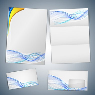 Corporate Template Vector - blanks, business cards, envelope stock vector