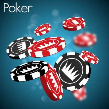 Poker chips with crown on blue background