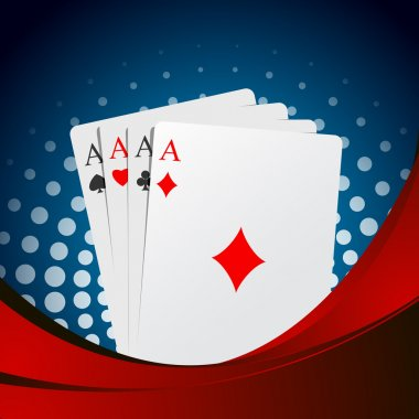 Four aces playing cards suits on blue and red stock vector