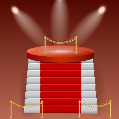 Red podium on brown background stock vector