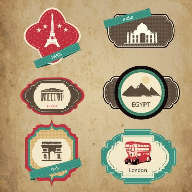 Vintage travel icons. Travel stickers set. stock vector