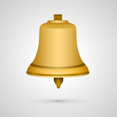 Vector golden bell on grey background stock vector