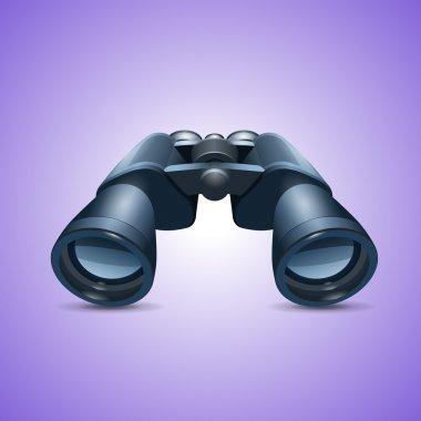 Binoculars Icon on violet background stock vector