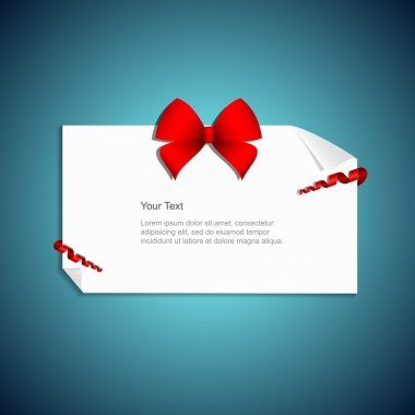 Gift card with red gift bow with ribbon. Vector illustration. stock vector