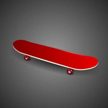 Red skateboard deck on black background stock vector