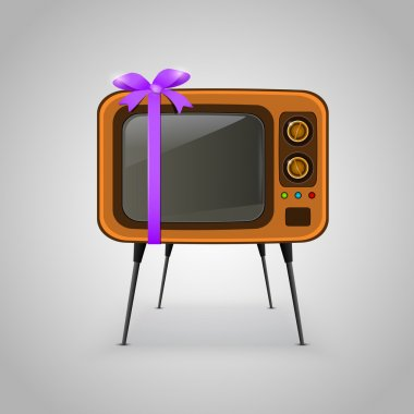 Retro TV tied with a violet ribbon stock vector