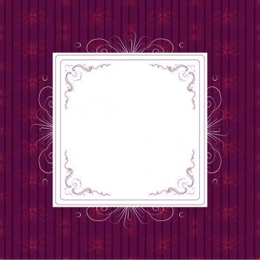 Vintage white frame on violet background stock vector