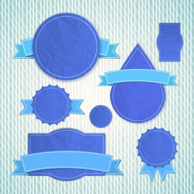 Blue textured vintage emblems of different shapes with bent empty ribbon tapes over stock vector