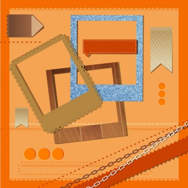 Different vector frames and ribbons on orange background stock vector
