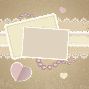 Square cards on romantic background stock vector