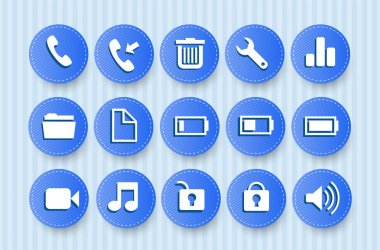 Icons for Mobile Phone with blue background stock vector