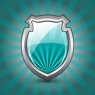 Glossy Shield Protection Icon on blue and grey background stock vector
