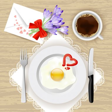 Illustration of flowers and romantic morning meal - fried eggs and coffee stock vector