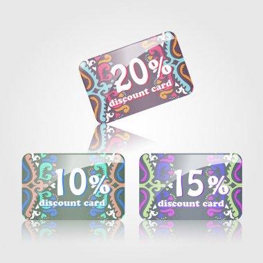 Discount cards from ten to twenty percent stock vector